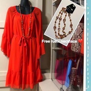 NWT MSK Orange Bell-Sleeve Dress